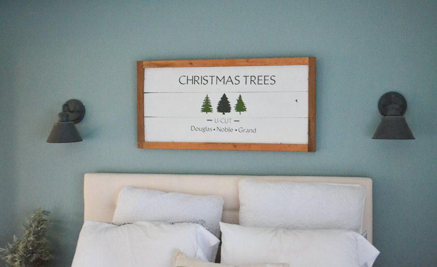 rustic Christmas trees wood sign