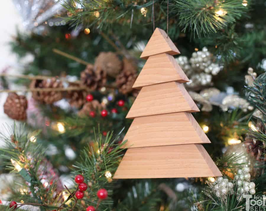 scrap wood Christmas trees ornaments