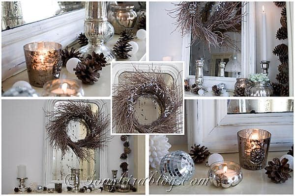 silver natural Christmas mantel decoration