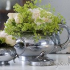 roses in silver teapot and sugar bowl