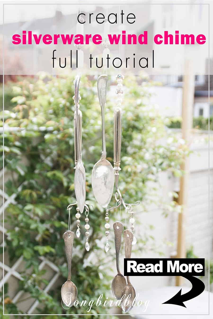 silverware wind chime with text overlay