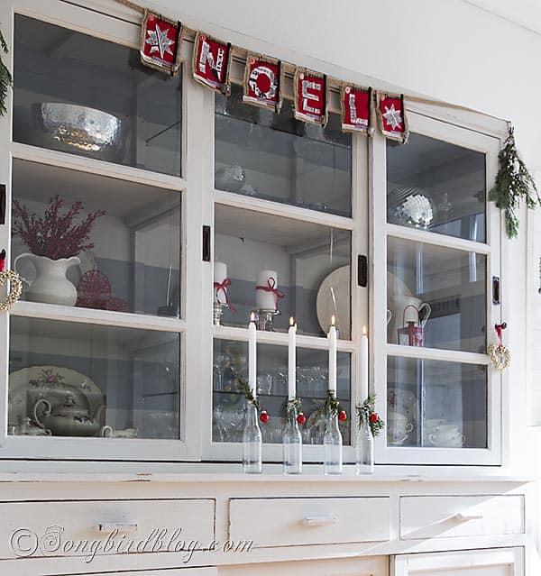 easy Christmas decoration with repurposed bottles. http://www.songbirdblog.com