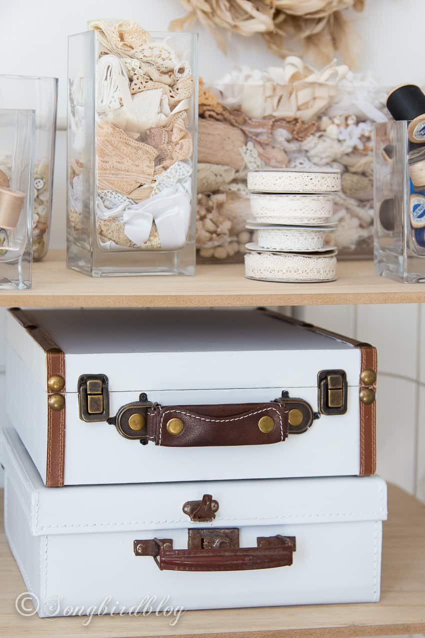 how to paint suitcases tips and tricks. Two small painted suitcases storage in craft room