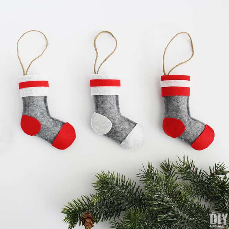 felt wool sock ornaments diy