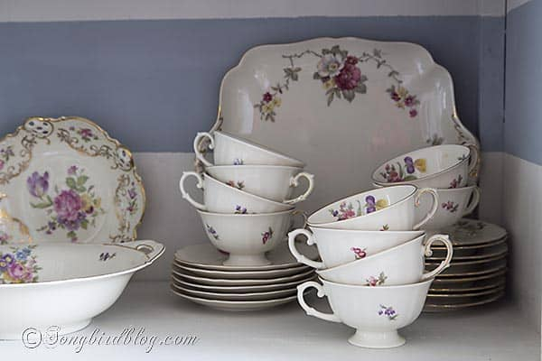 striped hutch makeover floral china via Songbirdblog