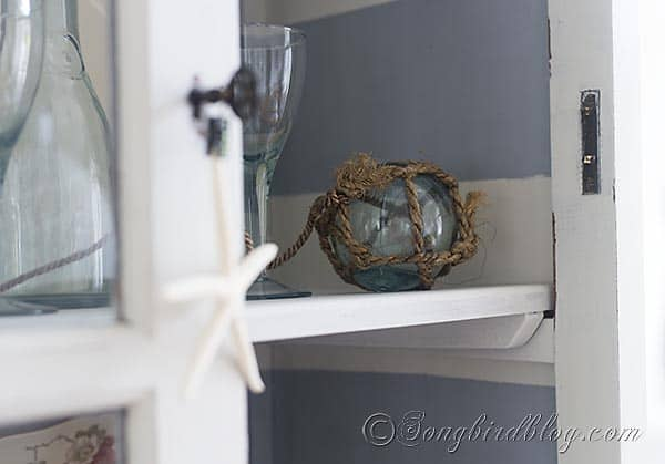 striped hutch makeover glass float via Songbirdblog