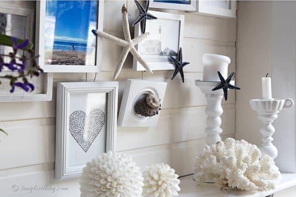summer mantel decor with beach theme