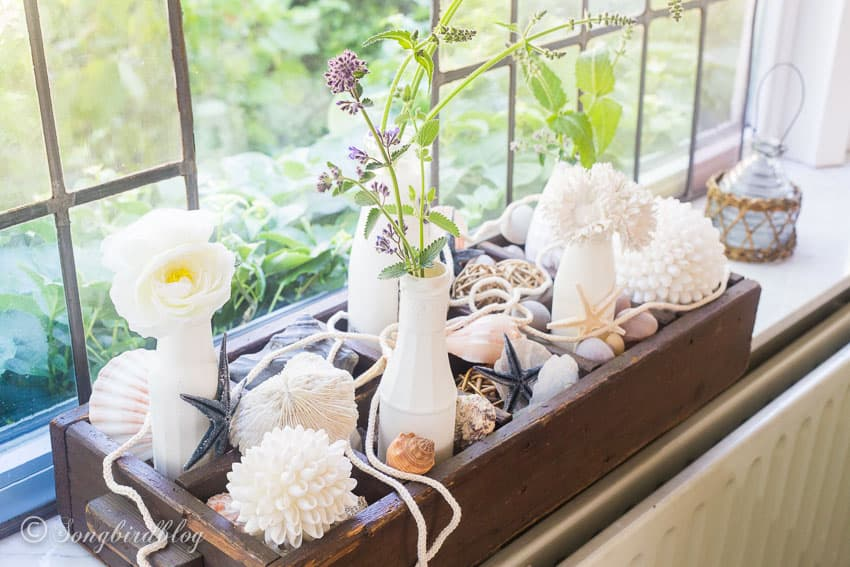 window sill decor for summer with a vintage crate