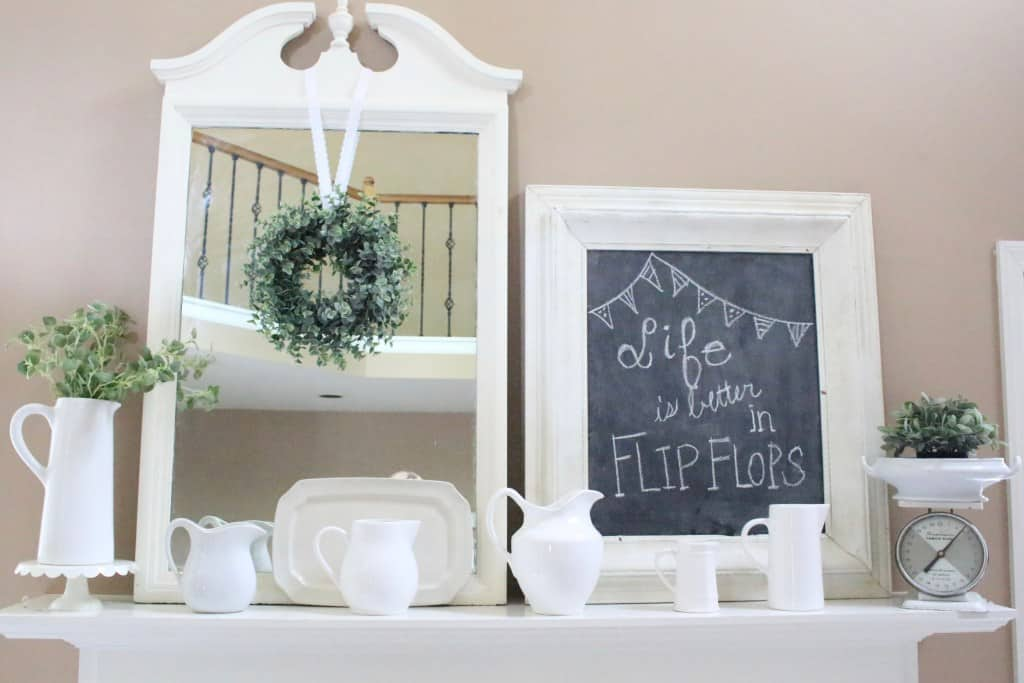 summer mantel idea with white accessories
