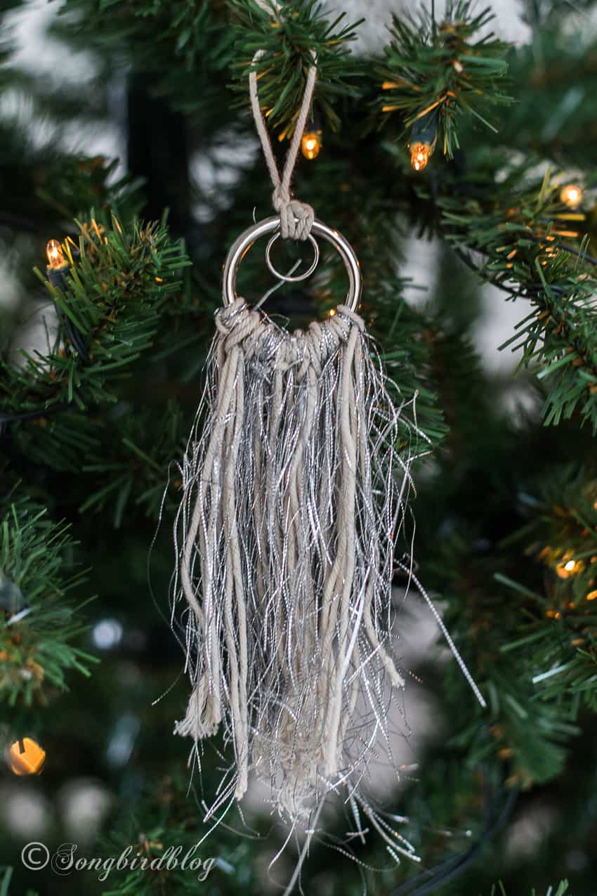 tassel ornament hanging in Christmas tree