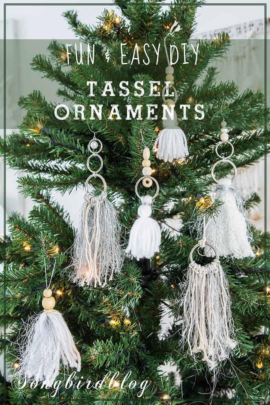 A Bohemian Christmas Tree Let S Do A Tassel Boho Ornaments Diy Songbird