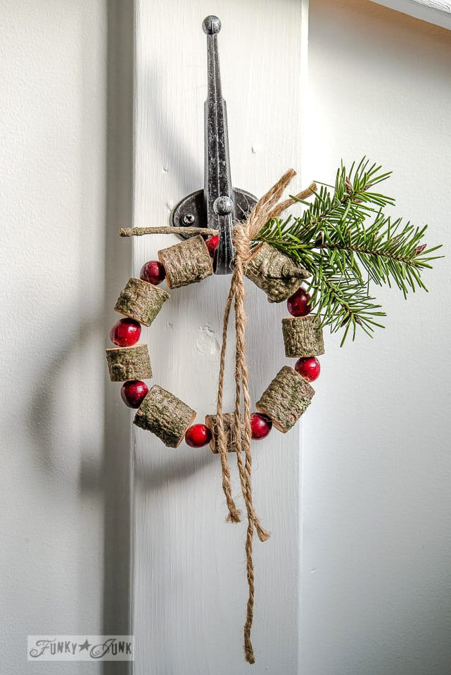 5 – Wooden bead and cranberry Christmas wreath