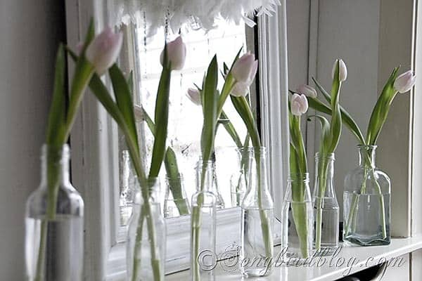 Simple mantel decoration with a line of tulips in glass bottles. Songbirdblog.com