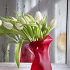 tulips in red moldable vase