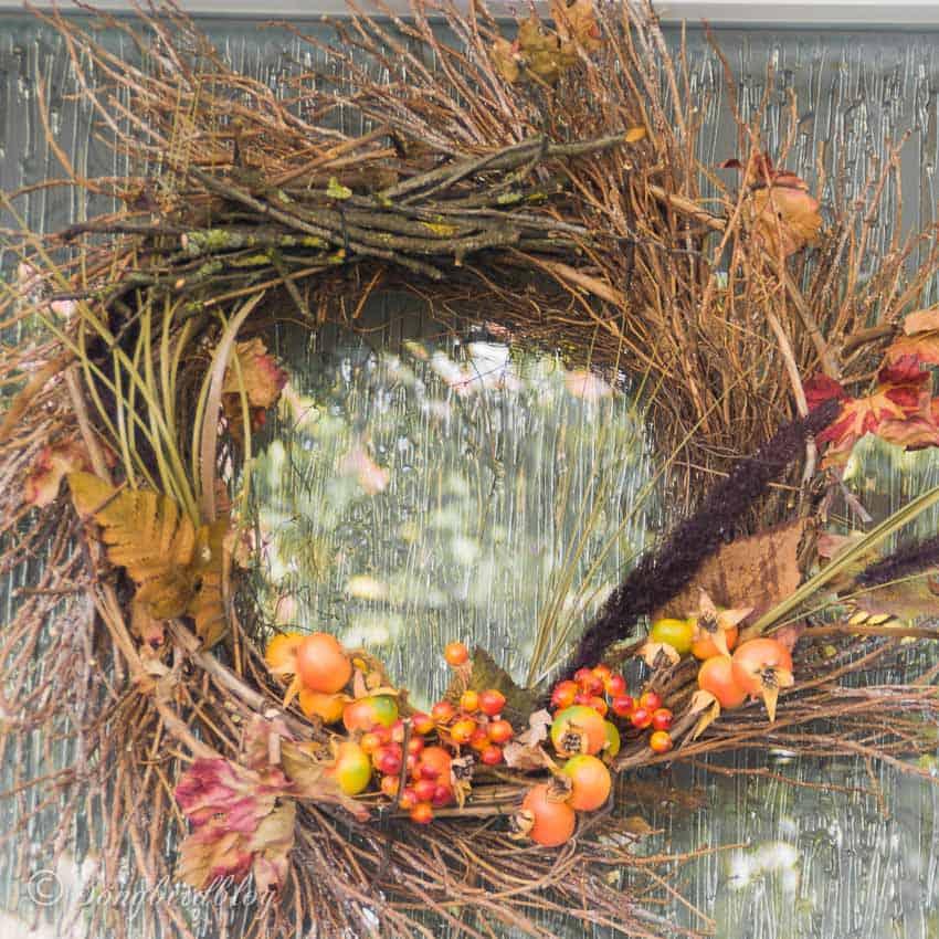 front door twig wreath fall colors