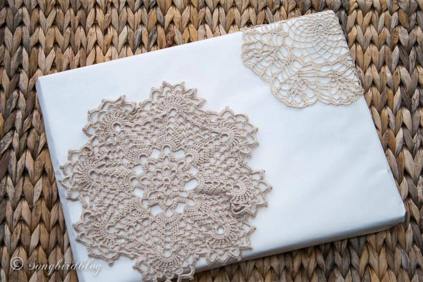 tissue and doilies vintage christmas gift wrap idea