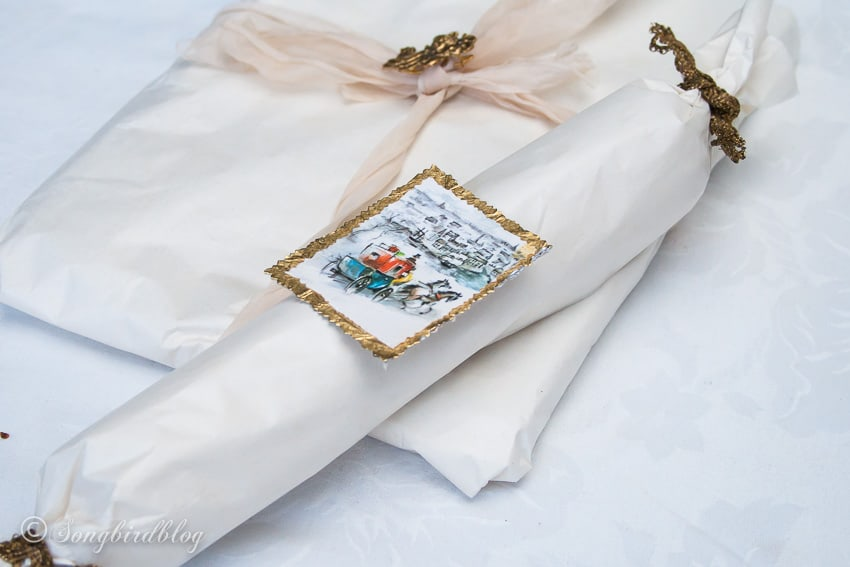 Vintage Christmas gift wrapping ideas with vintage Christmas gift tags.