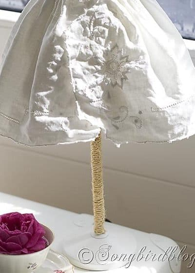 vintage table runner turned lamp shade
