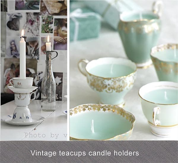 vintage tea cups candle holders