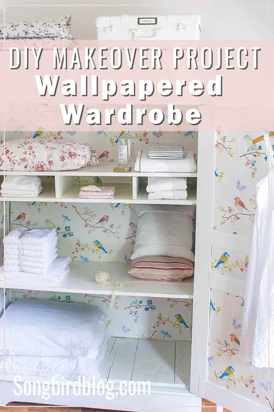 wallpapered wardrobe makeover