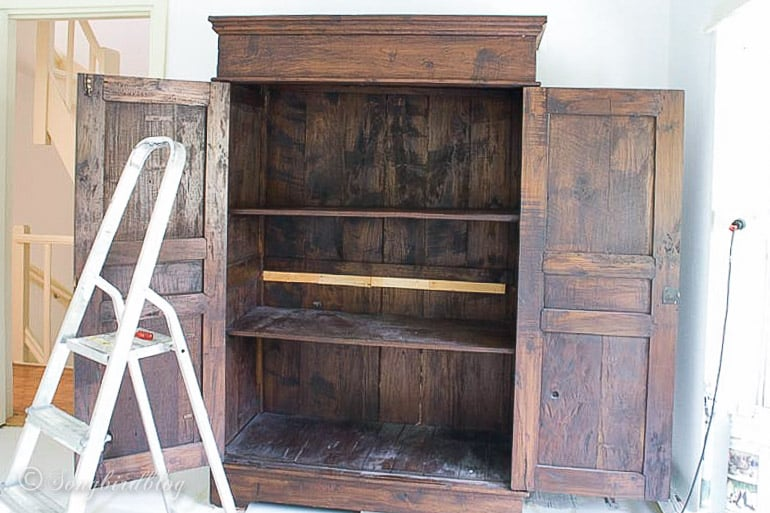 colonial style wardrobe cut in half and reassembled