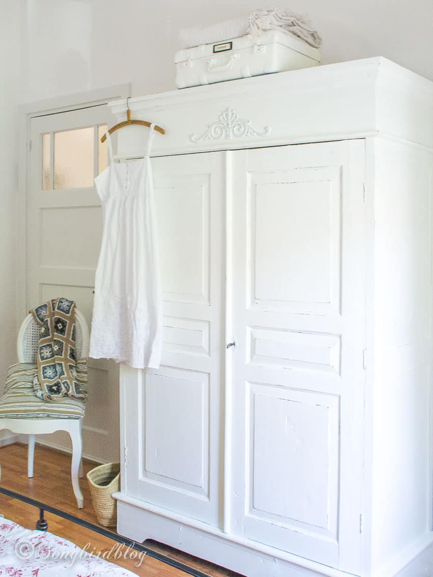 white painted wardrobe