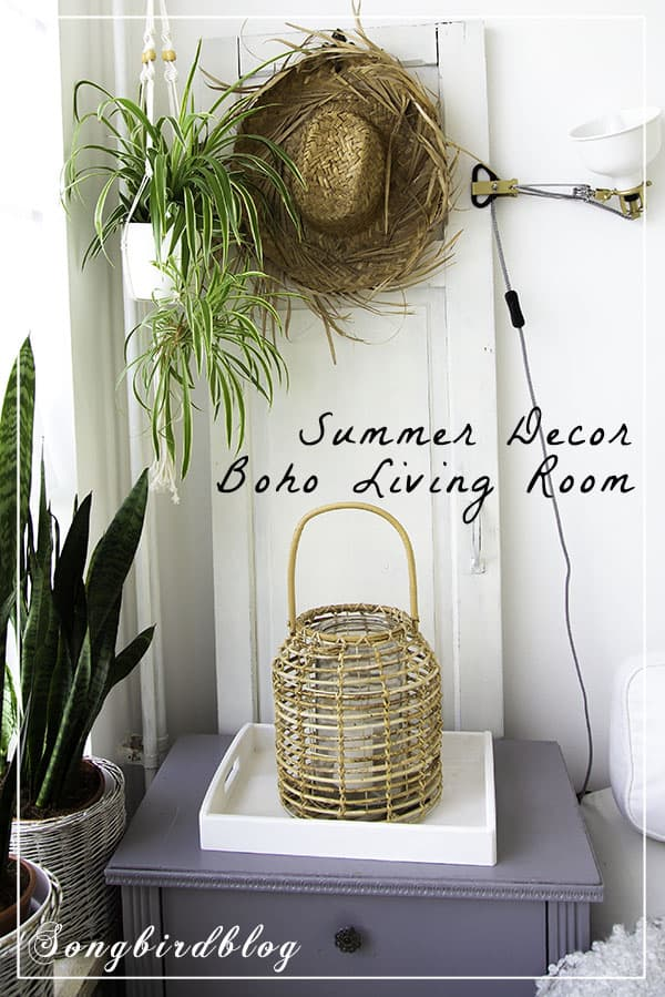Boho summer decor in living room