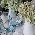 decorating with white flowers and blue glass