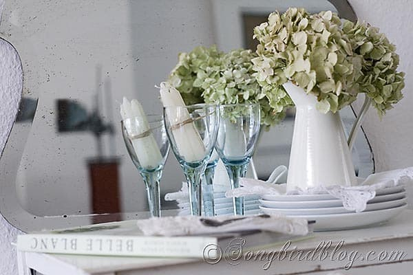 white hydrangea decoration at Songbirdblog