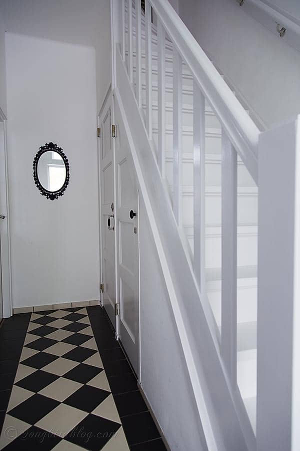 white painted hallway and staircase