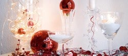 red, silver and white Christmas mantel display