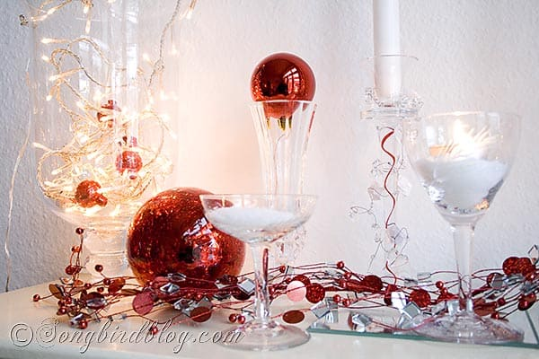 christmas mantel decorations in red, white, silver and gold
