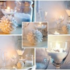 glass, snow and candles winter decoration
