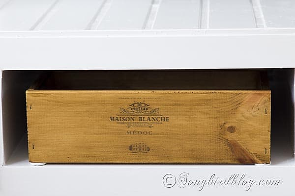 wine crate TV remote storage