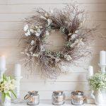 twig wreath mantel decor in white
