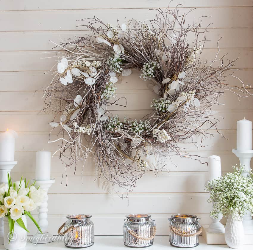 twig wreath with white decorations