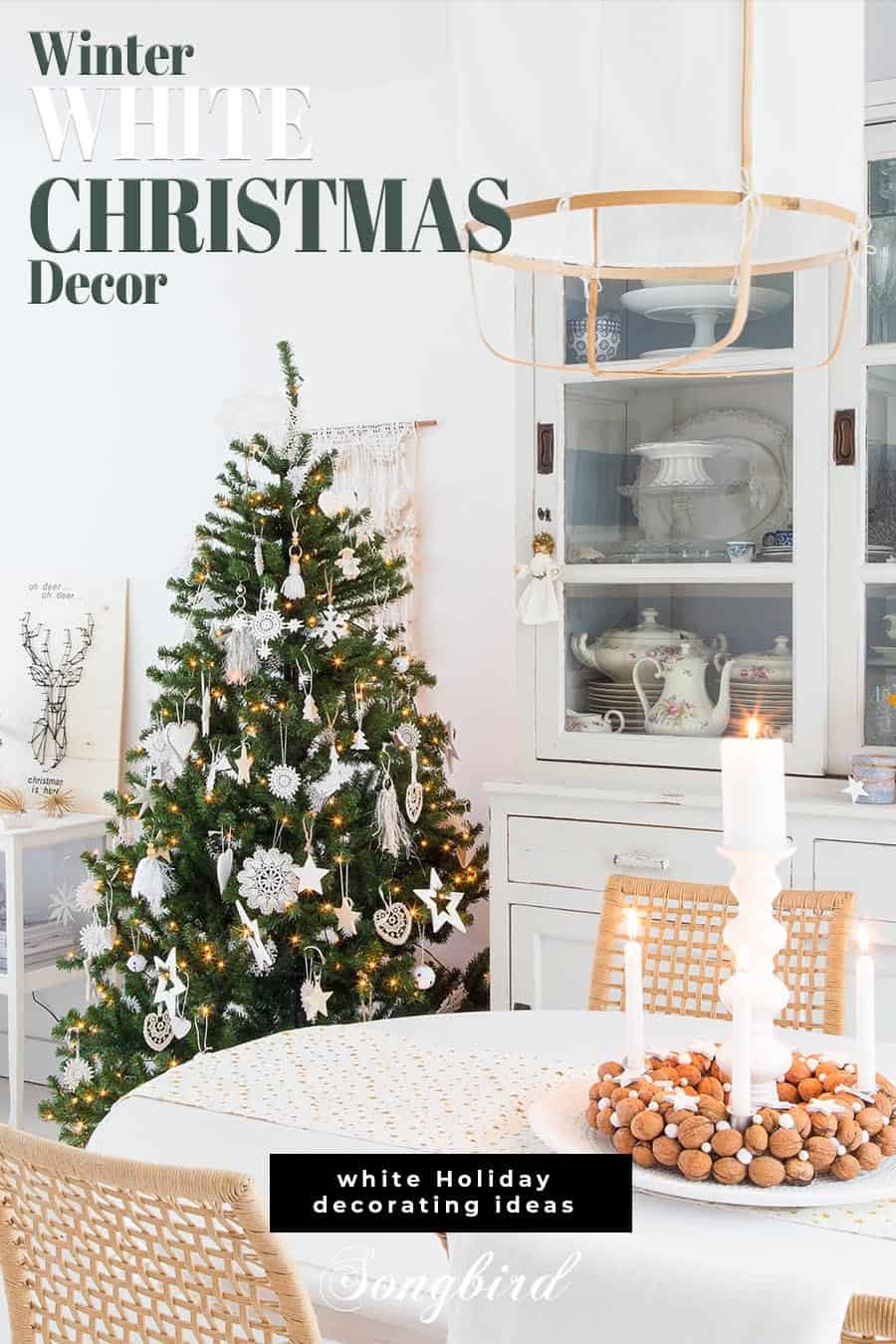 winter white Christmas decor in dining room